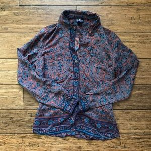 Blue and Coral Paisley Cowboy Western Button Down